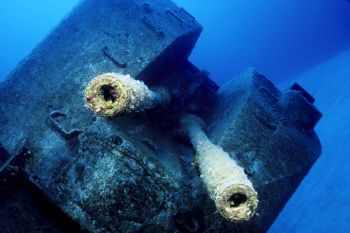 Bow guns of the Russian Frigate, Cayman Brac in the Cayma... by Eric Bancroft