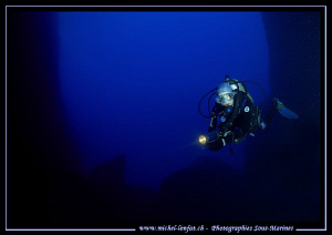 Caroline my wife at the exit of the inlandsea - Gozo Isla... by Michel Lonfat