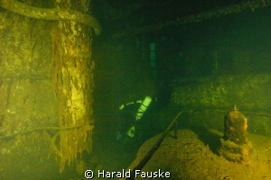 "inside engineroom of 128 m long ww2 wreck ""fisser"" by Harald Fauske"