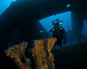 An underwater photographer inside the Wit Shoal II in St.... by Juan Torres