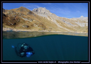 Caroline my wife... High Mountain Lake Altitude diving fr... by Michel Lonfat