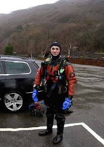 The joys of diving in UK in winter. Mr H after a dive in ... by Mark Thomas