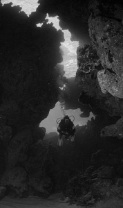 Diver in egypt entering a reef cave by Andy Kutsch