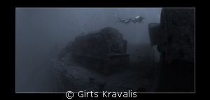 Steam locomotive on sunked Thistlegorm by Girts Kravalis