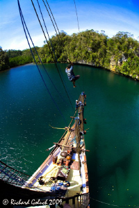Raja Ampat-The Passage-view from the mast of SMY Ondina by Richard Goluch