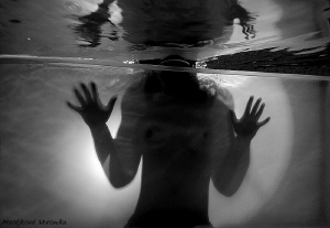 Mysterious woman in the swimmingpool. NO P.C WORK by Veronika Matějková