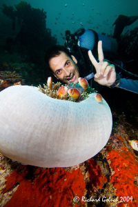 Raja Ampat-my guide Norberto posing with anemonefish-Cano... by Richard Goluch