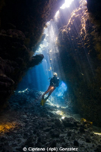 diver at st Johns caves by Cipriano (ripli) Gonzalez