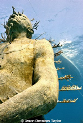 Man on fire... underwater sculpture planted with fire coral by Jason Decaires Taylor