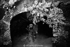 My wife Lucia  is inside the wreck of the hangar of u/w s... by Alberto Romeo