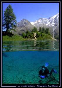 Caroline my wife diving a High Altitude Lake in the Swiss... by Michel Lonfat