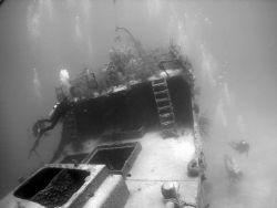 Divers on the wreck of the Prince Albert, Roatan, Nikon C... by Ken Dean