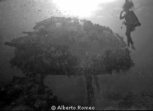 In 1970's my wife Lucia is near the wreck of the hangar o... by Alberto Romeo
