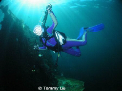 Lovely diver in the water with the Jesus light~ by Tommy Liu