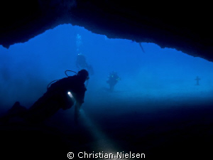 Palm Mar cave. Inside the entrance of Palm Mar cave. A b... by Christian Nielsen