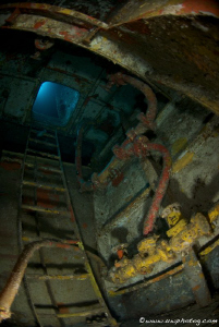 Ladder inside the wreck of the Ex HAMS Swan by Chris Holman
