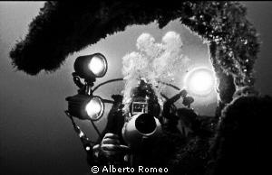 "Videomaker in ""Doria"" wreck in Azores Islands.  In 1980'... by Alberto Romeo"
