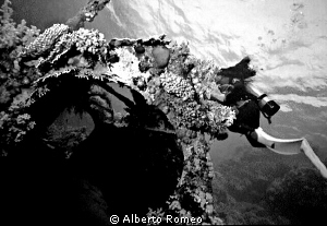 In the Cousteau village Precontinent II there is the wrec... by Alberto Romeo