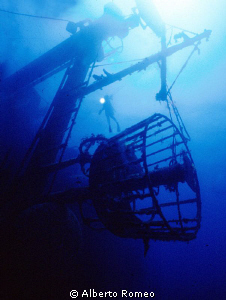 The  crow's nest  of the Cedar Pride wreck. Note the litt... by Alberto Romeo