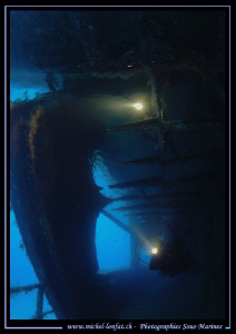 """My wife discouvering the """"Farud"""" Wreck in the waters of M... by Michel Lonfat"""