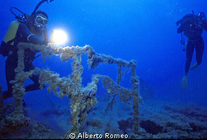 "Exploring the wreck of  ""Capua"", about -40 m. deep by Alberto Romeo"
