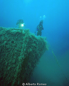 "The bow of the wreck "" Capua"", about -40 m. deep by Alberto Romeo"