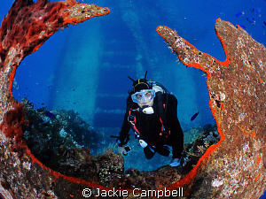 Fujikawa Maru kingpost at 18ft. Shows the ship deck below... by Jackie Campbell
