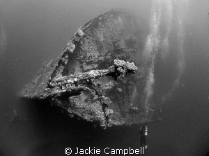 Bow of the Umbria. Looks better in B&w than in colour. Ca... by Jackie Campbell