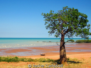 Town beach in Broome has this wonderful redy coloured san... by Jackie Campbell