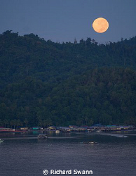 Full Moon over Gaya Island, TAR Park, Kota Kinabalu, Saba... by Richard Swann