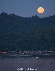 Full Moon over Gaya Island, TAR Park, Kota Kinabalu, Saba... by Richard Swann