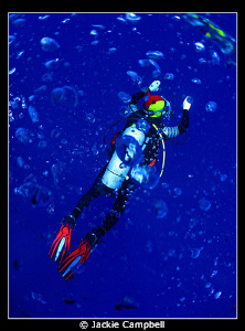 Diver bubbles.