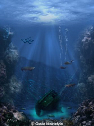 ... having reached the coral canyon, they finally found t... by Gosia Nowodyla
