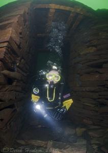 Diver in blast hut. Vivian quarry. D3, 16mm. by Derek Haslam