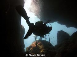 Cave exit, Formentor Headland, Majorca on hols :-) by Steve Davies