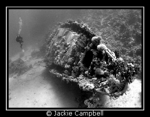 Sunken Yacht in Small Abu Gallawa. Converted to B&W in P... by Jackie Campbell