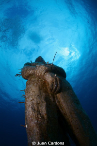 Hombre en llamas in the cancun`s underwater museum