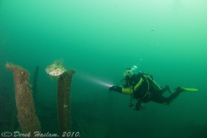 Chris on the Persier wreck. Plymouth. D3, 16mm. by Derek Haslam