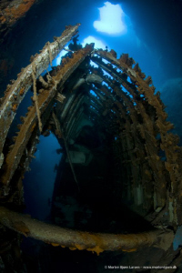 A wreck has slipped into a hole/cave in Kalymnos - Greece by Morten Bjorn Larsen
