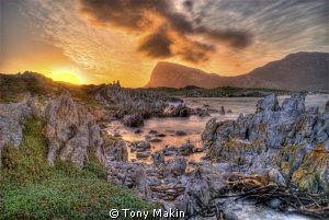 long exposure HDR of the sunset over Cape Hangklip by Tony Makin