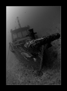 Small fishing boat wreck by Charles Wright
