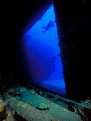 Theo Wreck interior, Bahamas (Nikon F4, 18mm/3.5, Aquatic... by Andrew Dawson