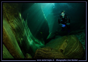 Diving the Verzasca River. Caroline my wife in one of the... by Michel Lonfat