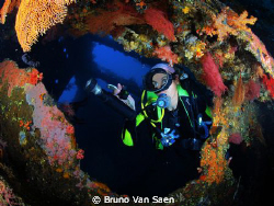 My wife inside the wreck 'Liberty II' by Bruno Van Saen