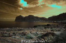 A infrared photo of Sferracavallo's gulf. by Ferdinando Meli