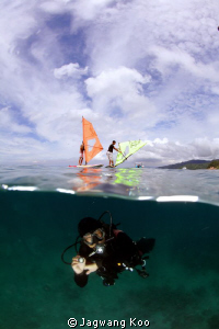 Windsurfing and Diving by Jagwang Koo