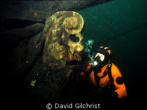 Diver examines the original figurehead on the Brig Sandus... by David Gilchrist
