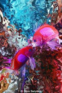 psychedelic fish fight by Heru Suryoko