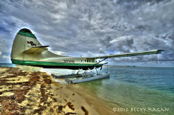 Seaplane sits on the beach waiting to take off. by Becky Kagan