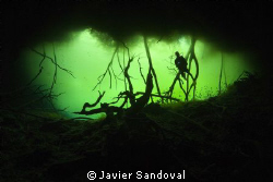 diver getting into cenote carwash by Javier Sandoval